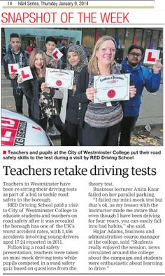 As part of our Get Road REDdy campaign we challenged teachers at the City of Westminster College to retake their tests to highlight the importance of road safety to their pupils. Westminster is one of the worst accident spots in the UK for young drivers. Read more in Wood & Vale... #roadsafety