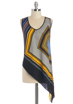 That's the Sway It Is Top. Lifes a breeze as you chill out on the hammock in this geometric-print tank! #multi #modcloth