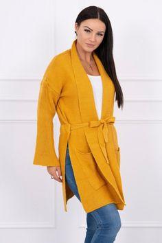 Nádherný dámsky pletený kardigán horčicový Cold Day, Mustard, Elegant, Sleeves, Sweaters, Pockets, Fashion, Dress, Classy