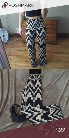 High Waisted Aztec Pants These pants are trendy and so comfortable! Waist band is 2-3in wide for a nice slimming effect. Pants Wide Leg