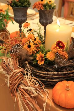Autumn Candle Centerpiece