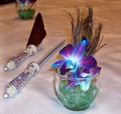 Peacock Table Decorations | Cake Table Decorations with Orchids and Peacock Feathers