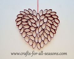 Use cardboard rings from paper towel tubes to create this pretty heart.