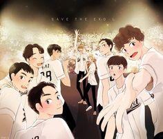 Kpop Exo, Exo Chanyeol, Kyungsoo, Exo Cartoon, Exo Stickers, Exo Anime, Exo Merch, Exo 12, Exo Lockscreen