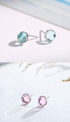 Teal Blue Crystal Earrings, Raw Cyan Geode Studs, Blue Green Jewelry for Birthday or Anniversary, Uncommon and Unusual Earrings, Rough Gem - Fine Jewelry Ideas Cheap Earrings, Simple Earrings, Gold Hoop Earrings, Crystal Earrings, Women's Earrings, Earring Studs, Cyan, Animal Earrings, Fashion Earrings