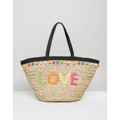 Floozie Pom Pom Basket Beach Bag (€33) ❤ liked on Polyvore featuring bags, handbags, multi, retro handbags, woven handbags, retro purses, clasp purse and pom pom beach bag