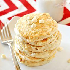 White Chocolate Macadamia Nut Pancakes - VEGAN and taste just like the cookie!