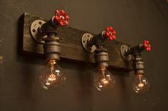 Wood and Steel Vanity Light With Red Spicket door UnionHilIronWorks