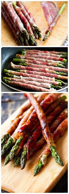 Prosciutto Wrapped Asparagus Prosciutto Wrapped Asparagus WoooooW! Looks delicious and I cant wait to try this recipe! 12 asparagus spears along with 6 prosciutto slices and a little ghee for frying is the secret of this recipe.
