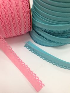 Crochet edged bias binding trims in bubblegum pastels. Available by the metre. Great for sewing and craft projects. Choose your colours here!