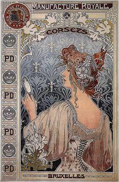 """¤ Manufacture Royale de corsets - Bruxelles. """"Bien faire et laisser dire"""" Henri Privat-Livemont"""