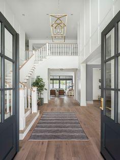 Open Entryway, Grand Entryway, Hallway Ideas Entrance Narrow, Modern Hallway, Grand Entrance, Custom Home Builders, Custom Homes, Style At Home, Hill Interiors
