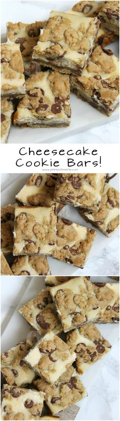 Cheesecake Cookie Bars! ❤️ Chocolate Chip Cookie Dough Base, Baked Vanilla Cheesecake, & Dollops of Cookie on top. Heavenly delicious traybake combining my two favourite things into Cheesecake Cookie Bars!
