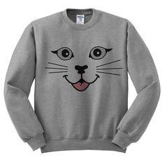 Grey Crewneck - Cat Face - Cat Sweater Jumper Pullover Kittens by TeesAndTankYouShop on Etsy https://www.etsy.com/listing/220110597/grey-crewneck-cat-face-cat-sweater