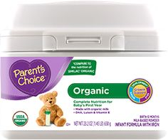 Parent's Choice Organic Baby Formula: Certified organic baby formula Manufactured with Non-GMO* ingredients Milk-based nutrition containing all nutrients, vitamins and minerals for growth and development Organic baby formula