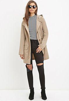 Hooded Longline Cotton Jacket   Forever 21 - 2000172692