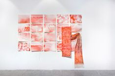 'Red Traveler' digitally woven tapestry installed over digital prints shown at Gallery Ø, Oslo Tapestry Weaving, Oslo, Wool Blend, Digital Prints, Neutral, Photo Wall, Hardware, Frame, Cotton