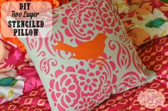 Using the new Tulip for Your Home, I created a fun DIY two layered stenciled pillow with my daughter that is perfect for her new room. Stencil Fabric, Stencil Diy, Stencil Painting, Paint Stencils, Stenciled Pillows, Fabric Crafts, Diy Crafts, Storage Design, Textile Prints