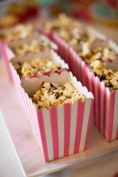 Adorable striped mini popcorn boxes available in all colors in Kara's Party Ideas Shop! KarasPartyIdeas.com/Shop
