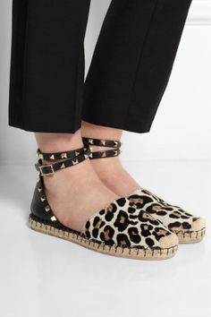 Valentino | Leather and leopard-print calf hair espadrilles | NET-A-PORTER.COM