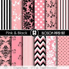 Pink and Black Paper Pink Digital Paper Pack от blossompaperart