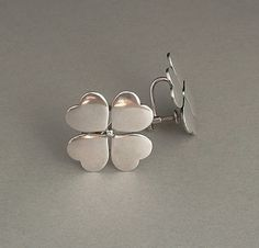 Sale Hans Hansen DENMARK Vintage Modernist Earrings STERLING Silver Clover Heart Motif SIGNED c.1940's #Hearts #Valentine