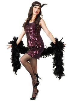 This Tear Drop Plum Flapper Costume is a sexy flapper dress covered in teardrop sequins. Get it for your next roaring twenties party or for Halloween.