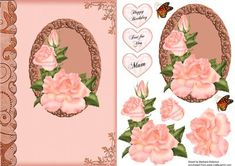Just Peachy Mum on Craftsuprint designed by Barbara Alderson - step by step decoupage on a card front with a choice of sentiments - Now available for download!
