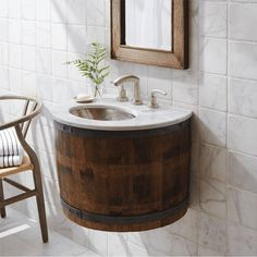 Bordeaux Wall Mount reincarnates an authentic piece of California's wine country into a beautifully functional wine barrel vanity or wet bar.
