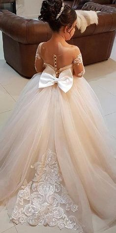 fcba6e1caee Pretty Tulle Bateau Neckline Ball Gown Flower Girl Dress With Lace Appliques    Bowknot