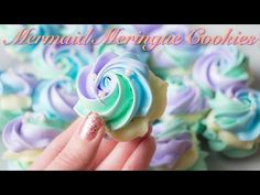 Mermaid Meringue Cookies with White Chocolate Ganache Filling! - YouTube