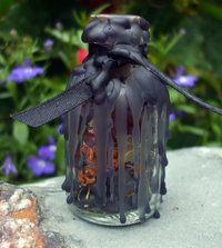 Banishing & Protection witches bottle. You cannot click on this site anymore but here is what you would need. Rusty nail, piece of glass, pennyand something shiny. Also some herbs that fit with your intention a jar or bottle and some black candles and lighter.