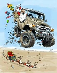 Santa's mode of transport for when he heads down south. Contact me if you want the full size pic free. Have a great festive season. Toyota Land Cruiser, Fj Cruiser, Toyota Fj40, Toyota Trucks, Jaguar, Carros Toyota, Offroader, Car Illustration, Jeep 4x4