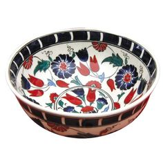 Turkish bowl for keys on hall table. China Painting, Ceramic Painting, Ceramic Art, Traditional Tile, Glazed Tiles, Beautiful Soup, Cool Curtains, Blue Bowl, Turkish Tiles