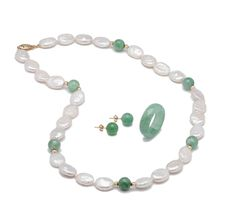 14K Yellow Gold Jade & Pearl NHR SHOPPING CHANNEL.COM                                      klace, Earrings & Ring Set  $289.99 REDUCED TO $148.33 AT TH    \\