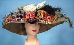 1905 Huge Edwardian Straw Hat with Dove Vintage Outfits, Vintage Fashion, Vintage Hats, Classic Fashion, Decorative Hair Combs, Historical Clothing, Edwardian Clothing, Edwardian Style, Antique Clothing