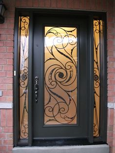 Single Front Doors iron in glass - full view glass door with fancy glass   entrance