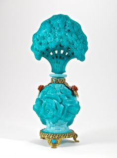 c. 1930 Ingrid, Czechoslovakian perfume bottle and openwork stopper, opaque turquoise crystal, dauber, gilt filigree metalwork, Bakelite and crystal jewels. Ingrid - Czech mark, Czech on metalwork. 8 3/4 in.