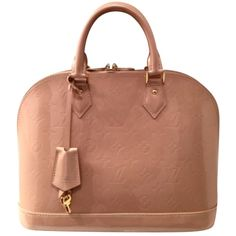Pre-owned Louis Vuitton Alma Vernis Pm Peach Pink Satchel ($1,530) ❤ liked on Polyvore featuring bags, handbags, louis vuitton, peach pink, pink handbags, louis vuitton handbags, beige handbags and preowned handbags