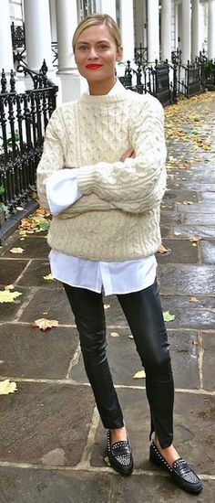 cool casual outfit : sweater + white shirt + leather pants + loafers