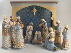Jim shore large blue nativity 11 piece set mib signed by jim shore - plus angel