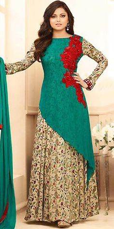 Madhubala Georgette Green Anarkali Suit With Dupatta. Bollywood Dress, Pakistani Dresses, Bollywood Fashion, Indian Dresses, Indian Outfits, Stylish Dresses, Casual Dresses, Fashion Dresses, Girls Dresses