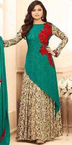 Madhubala Georgette Green Anarkali Suit With Dupatta. Stylish Dresses, Casual Dresses, Fashion Dresses, Bollywood Dress, Bollywood Fashion, Pakistani Outfits, Indian Outfits, Anarkali Dress, Lehenga