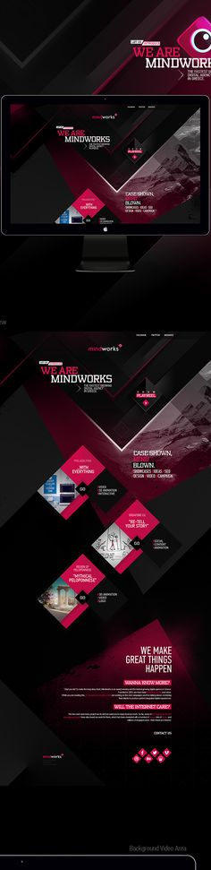 Creative Web, Mindworks, and Website image ideas & inspiration on Designspiration Mobile Web Design, Web Ui Design, Page Design, Interface Web, Interface Design, Web Layout, Layout Design, Portfolio Webdesign, Mise En Page Web