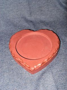 Primitive Style Red Wood Heart Candle Holder Base for Pillar Candles New #WoodNThings #Americana