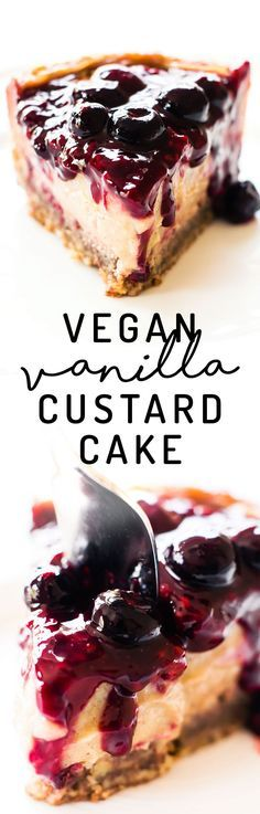 Dreamy meets healthy in this Vegan Vanilla Custard Cake with 2-ingredient pecan crust, low-fat vanilla bean filling, and easy berry compote to top! #vegan #paleo #healthy
