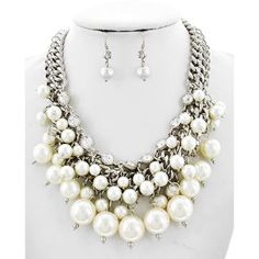 White Synthetic Pearl Necklace Set - $22.00