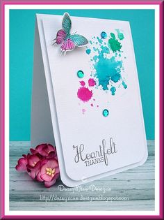vertical card, rounded corners, double front, great ink blots