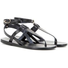 Ancient Greek Sandals Estia Leather Sandals ($160) ❤ liked on Polyvore featuring shoes, sandals, black, kohl shoes, ancient greek sandals, leather shoes, genuine leather shoes and leather sandals