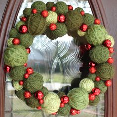 """Christmas Wreath, 14"""" Christmas Yarn Ball Wreath in greens, MADE TO ORDER on Etsy, $45.00"""